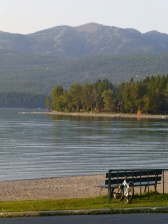 Whitefish Lake with ski trails beyond