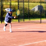 ::grandpa wowing everyone with his tennis skills::