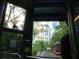 Descending the tram