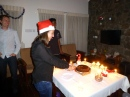 ::cutting the Christmas fruitcake::