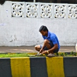 Cutting grass manually