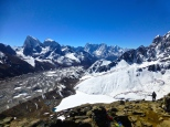 ::mountains, glacier, Gokyo and the lake::