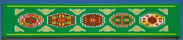 ::part of the Turkmen flag, the patterns represent the traditional carpet patterns from each region::