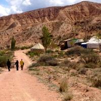 ::walking up to yurt camp::