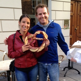 ::we obviously had to buy a giant heart shaped pretzel on our anniversary!::